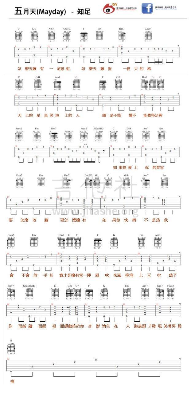 116 五月天 - 知足 (跟马叔叔一起摇滚学吉他)图片