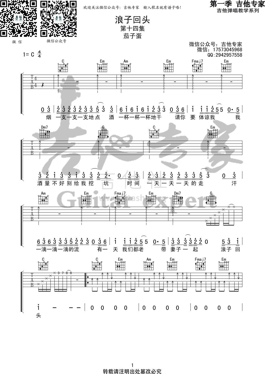 浪子回头(音艺吉他专家弹唱教学:第一季第14集)图片