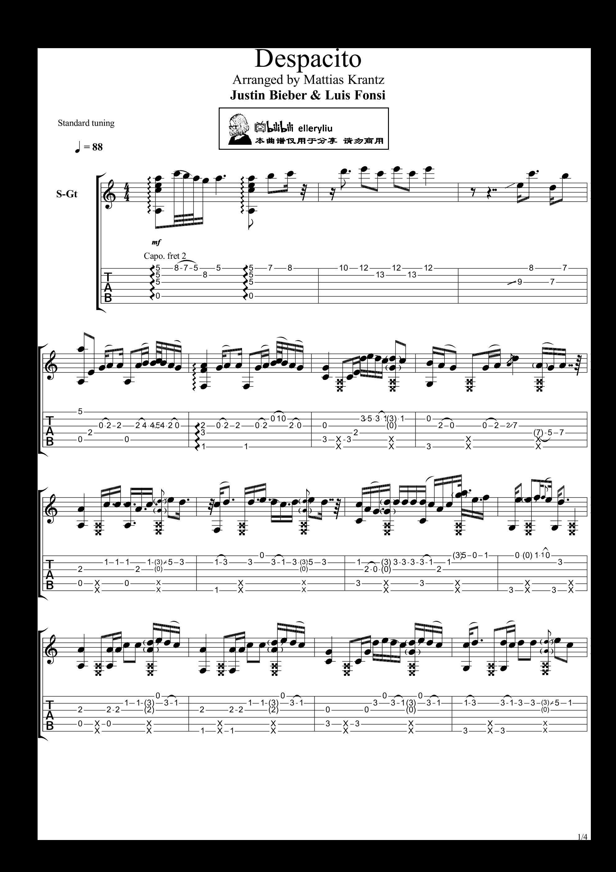 despacito (remix)吉他谱1图片