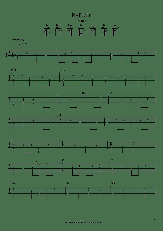 恋如雨止ED - Ref:rain吉他谱1