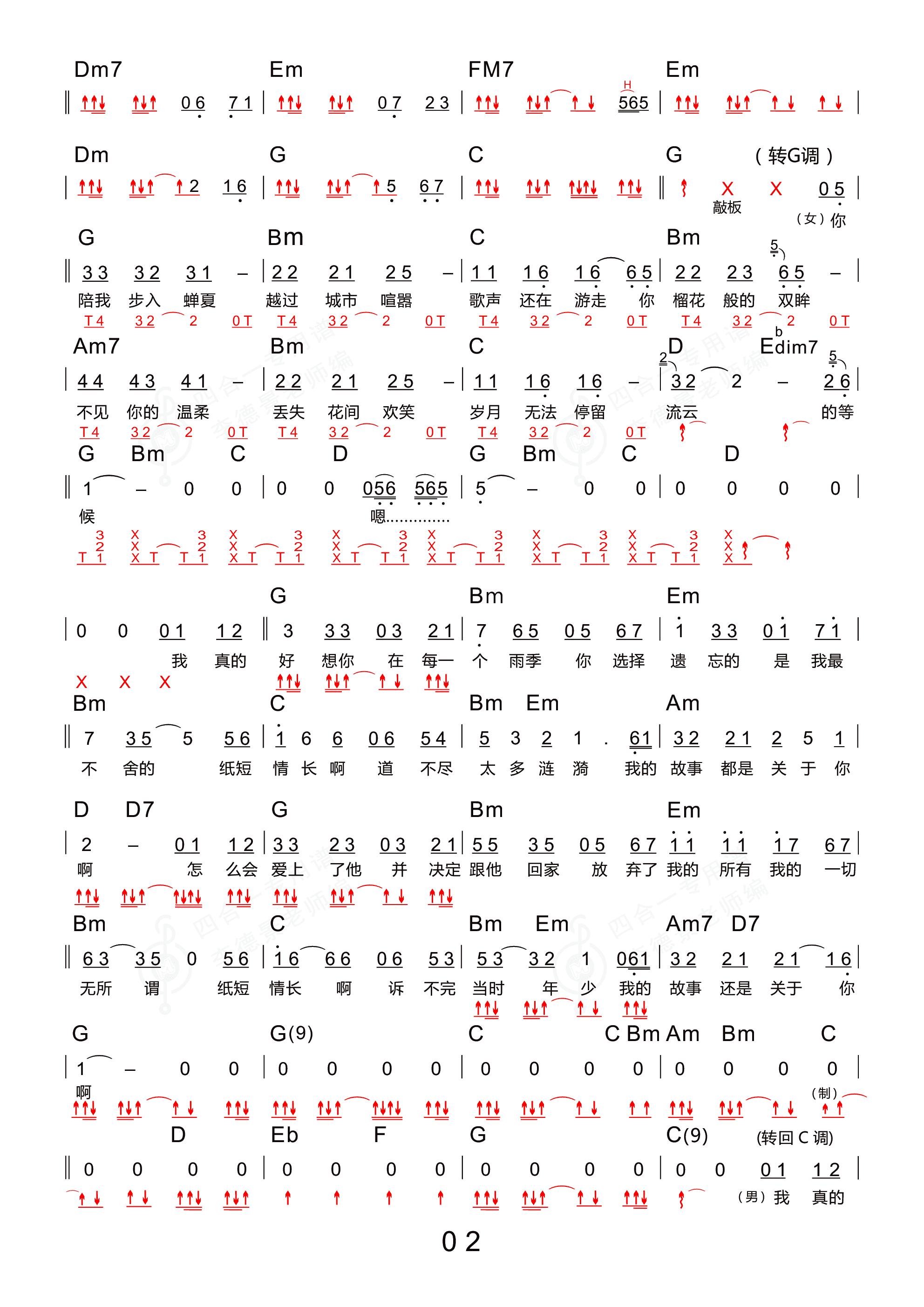 纸短情长(木棉道琴行 新四合一吉他谱)吉他谱2