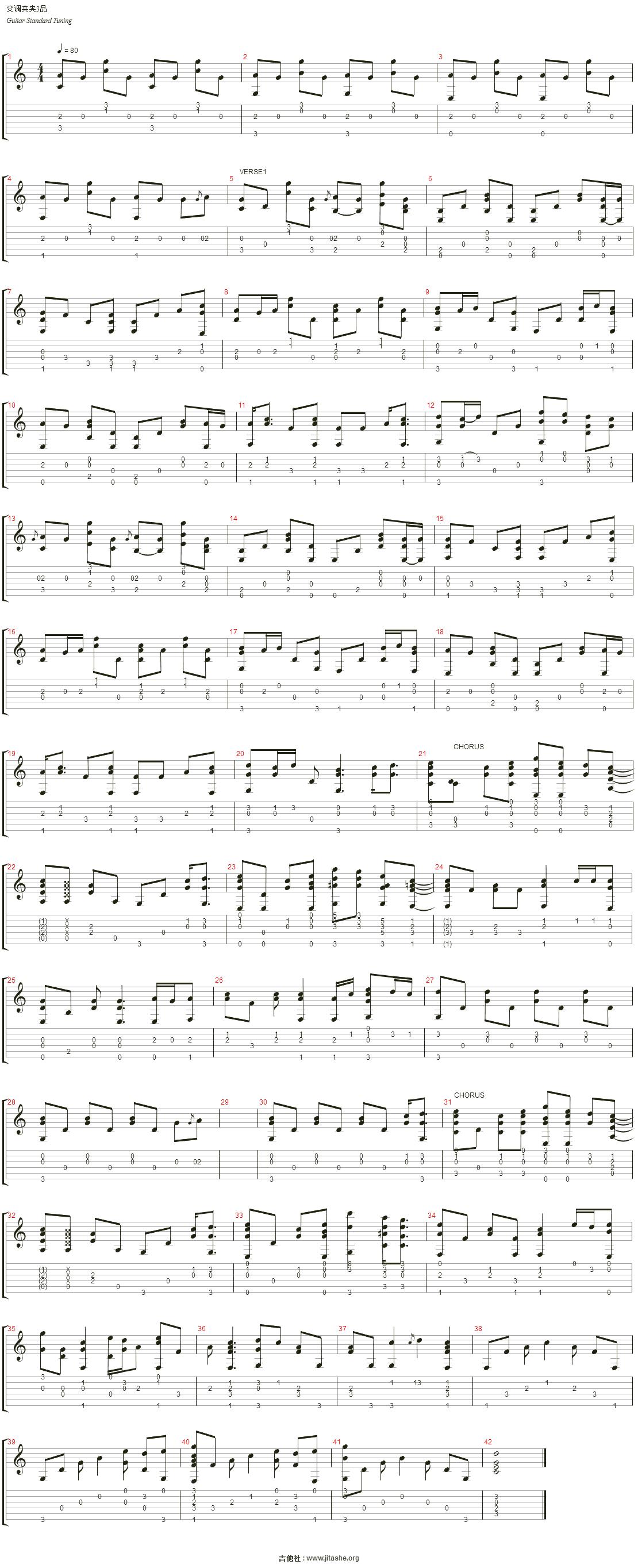 起风了 - the wind rises (飞机云;飞机云;ひこうき云)吉他谱(track 1图片