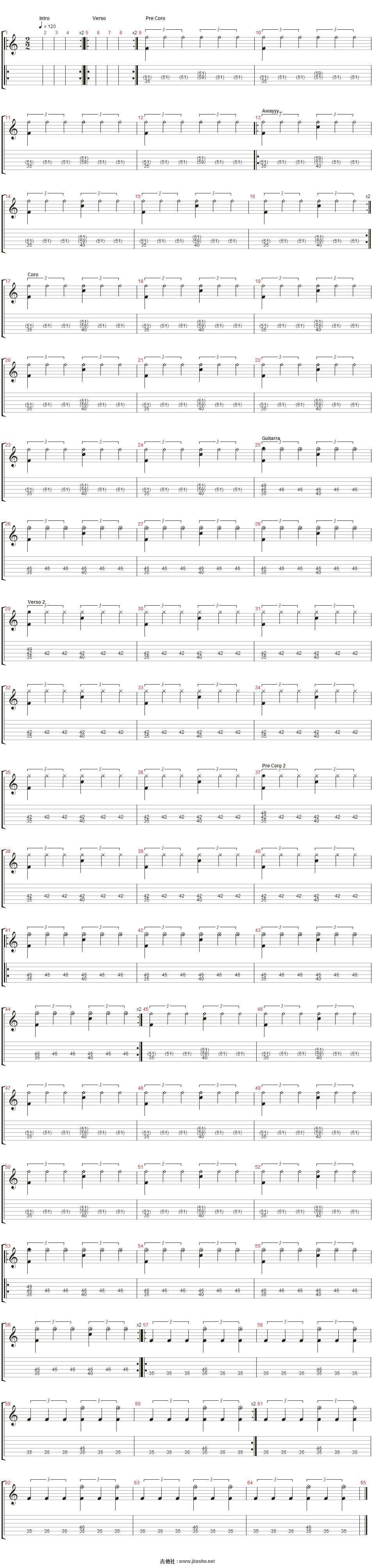 �n _locked away吉他谱(percusi髇)_the gathering