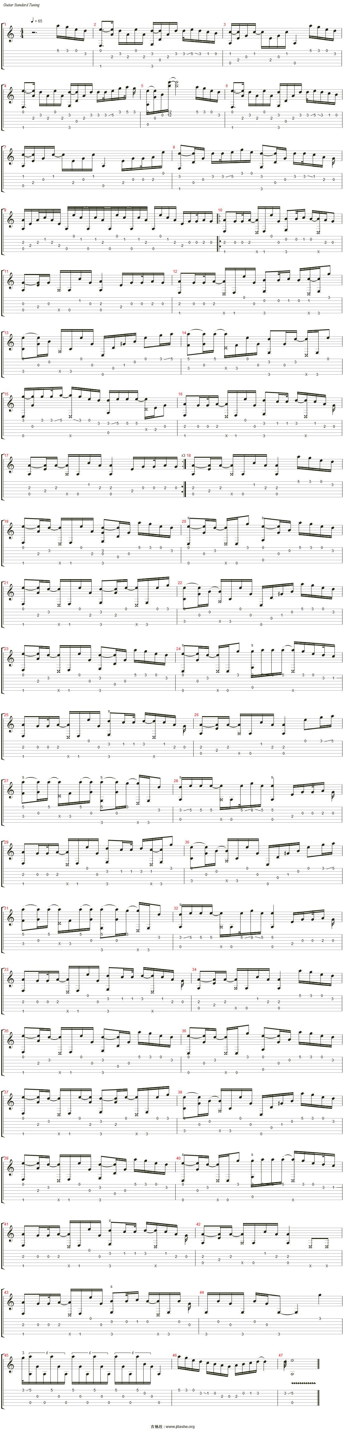 枫叶城(参照视频扒谱)吉他谱(steel guitar)_杨昊昆图片