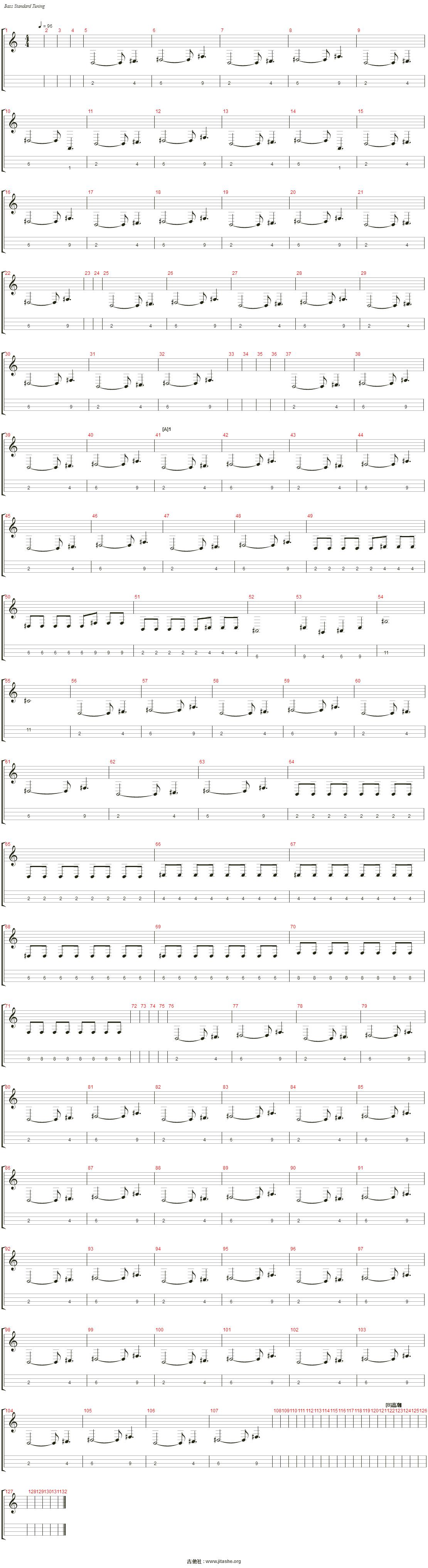 打上花火(自制乐队总谱)吉他谱(Electric Bass)_DAOKO