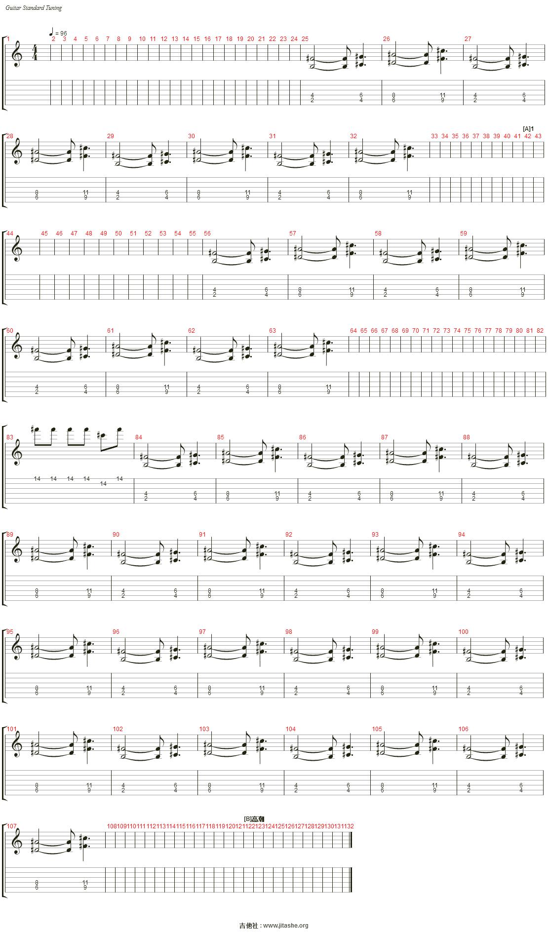 打上花火(自制乐队总谱)吉他谱(Electric Guitar)_DAOKO