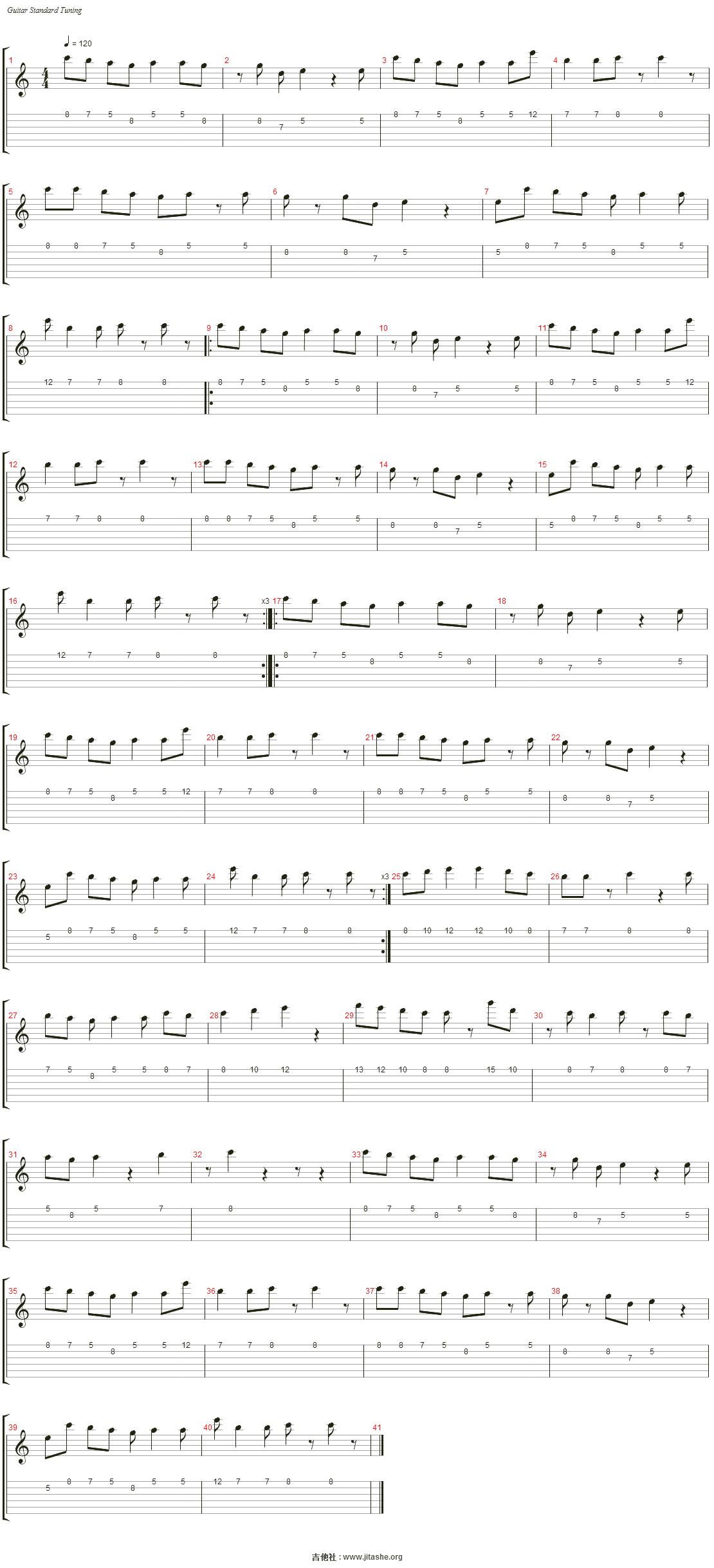 Sakura Tears吉他谱(Electric Guitar)_snigellin