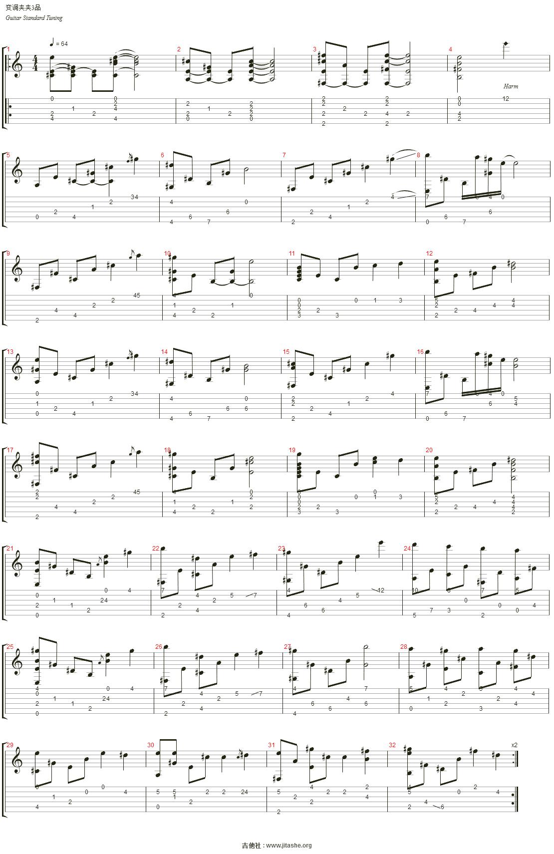 Nier(尼尔) - 穏ヤカナ眠リ(营地的bgm)吉他谱(Nylon Guitar)_动漫游戏