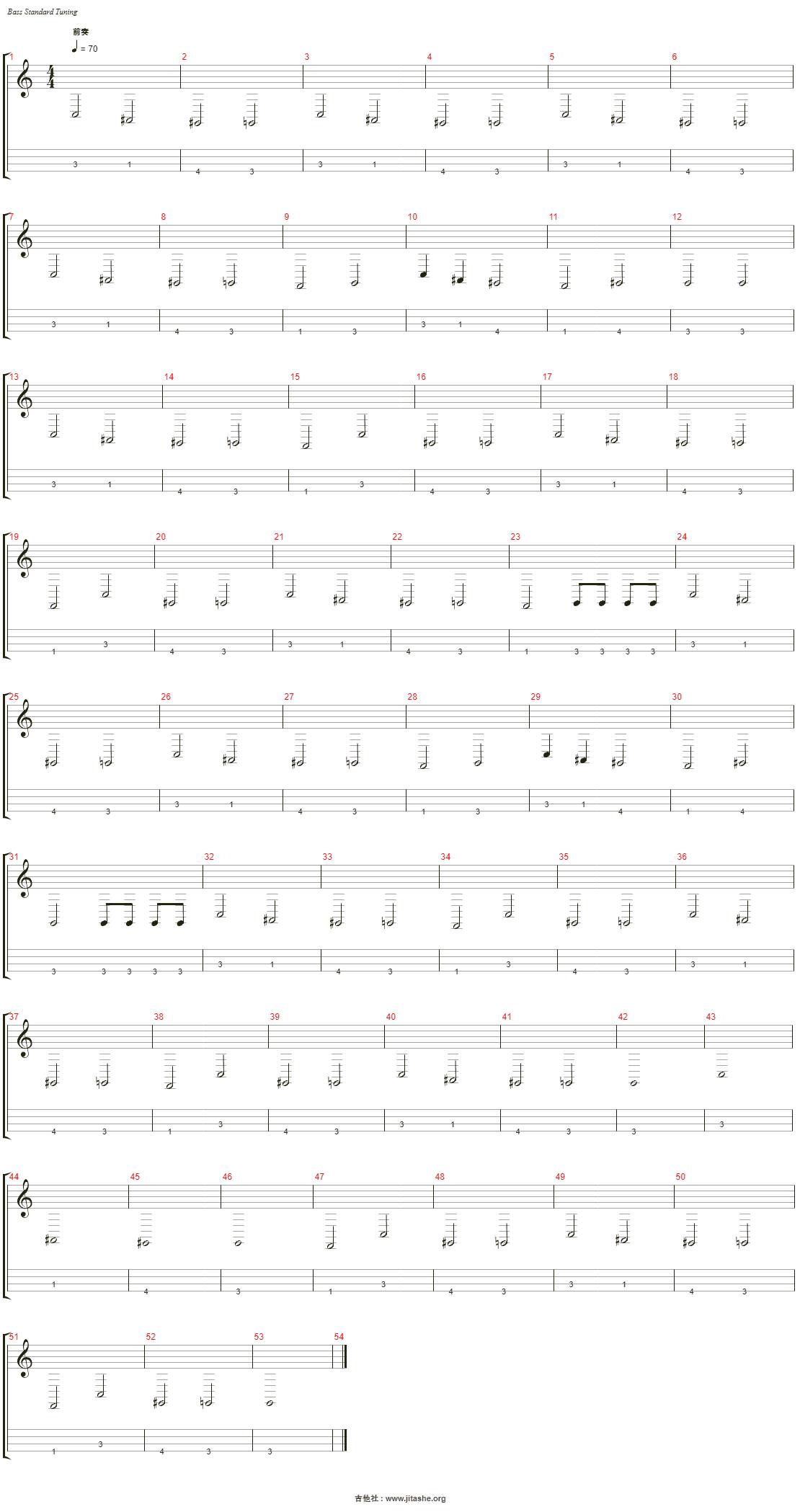红玫瑰吉他谱(Acoustic Bass)_陈奕迅