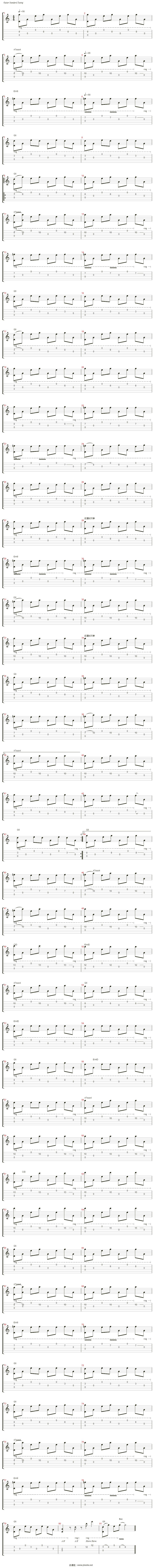 net 指示:key=g 节拍:♩ = 121 和弦:a7sus4 em9 g6 g6  g6  d5