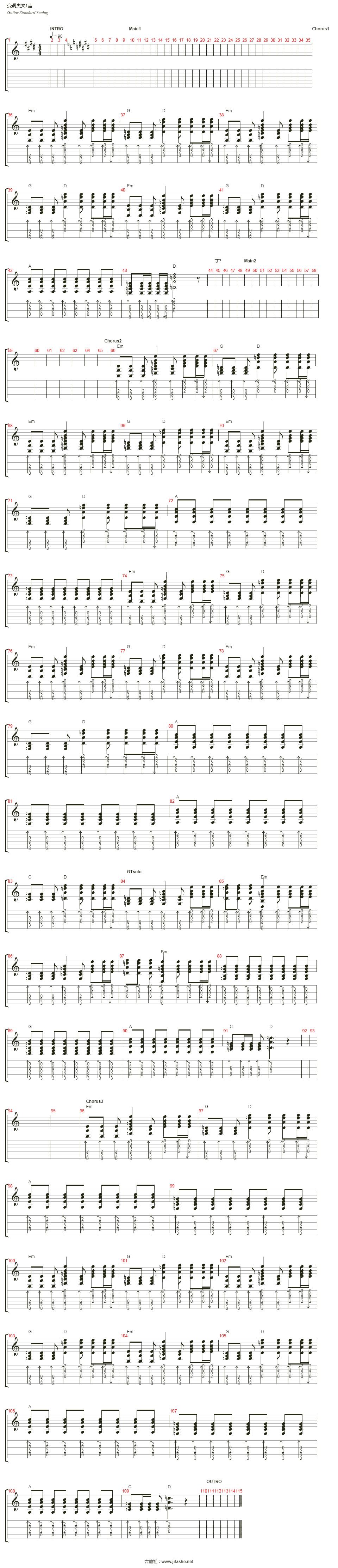 作曲:hiroyuki hamamoto 节拍:♩ = 90 key:252 和弦:f c# em9 g