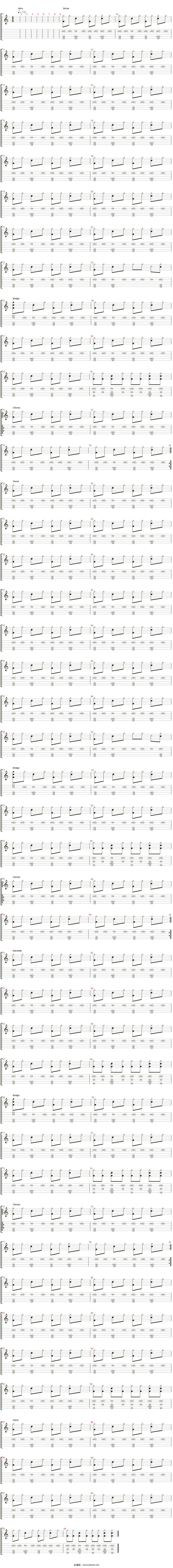 ?n_closer吉他譜(percusi髇)_travis