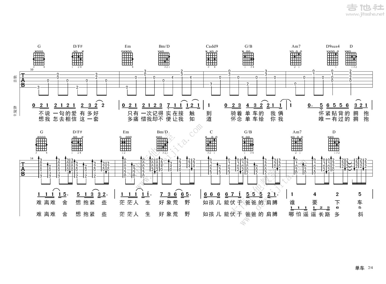 单车吉他谱(图片谱,弹唱,大伟吉他,教程)_陈奕迅(Eason Chan)_单车0614ok_页面_2.jpg