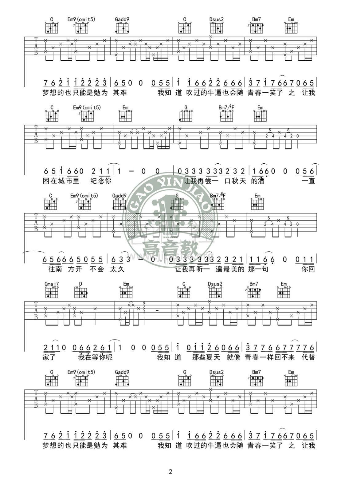 安河桥(高音教编配)吉他谱(图片谱,弹唱,伴奏,G调)_宋冬野_吉他谱《安河桥》G调标准版02.jpg