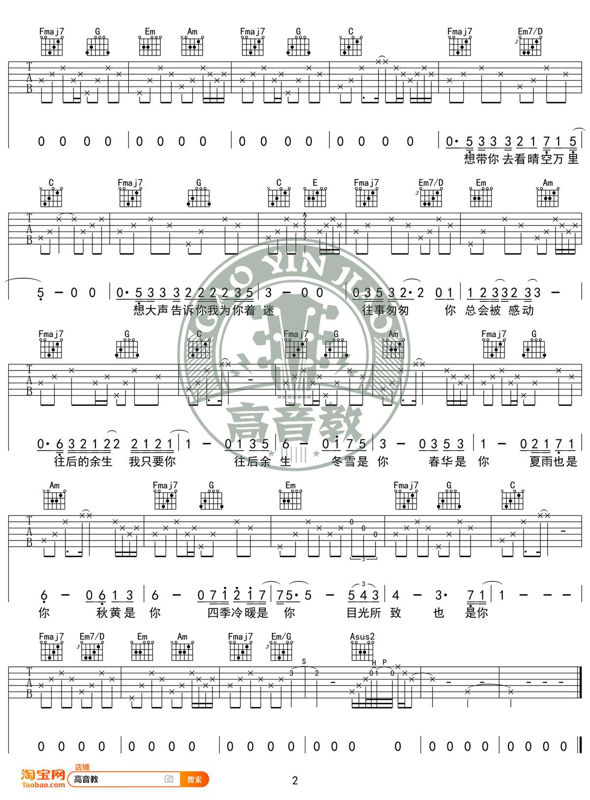 往后余生吉他谱(图片谱,弹唱,C调,标准版)_马良_《往后余生》C调标准版02.jpg