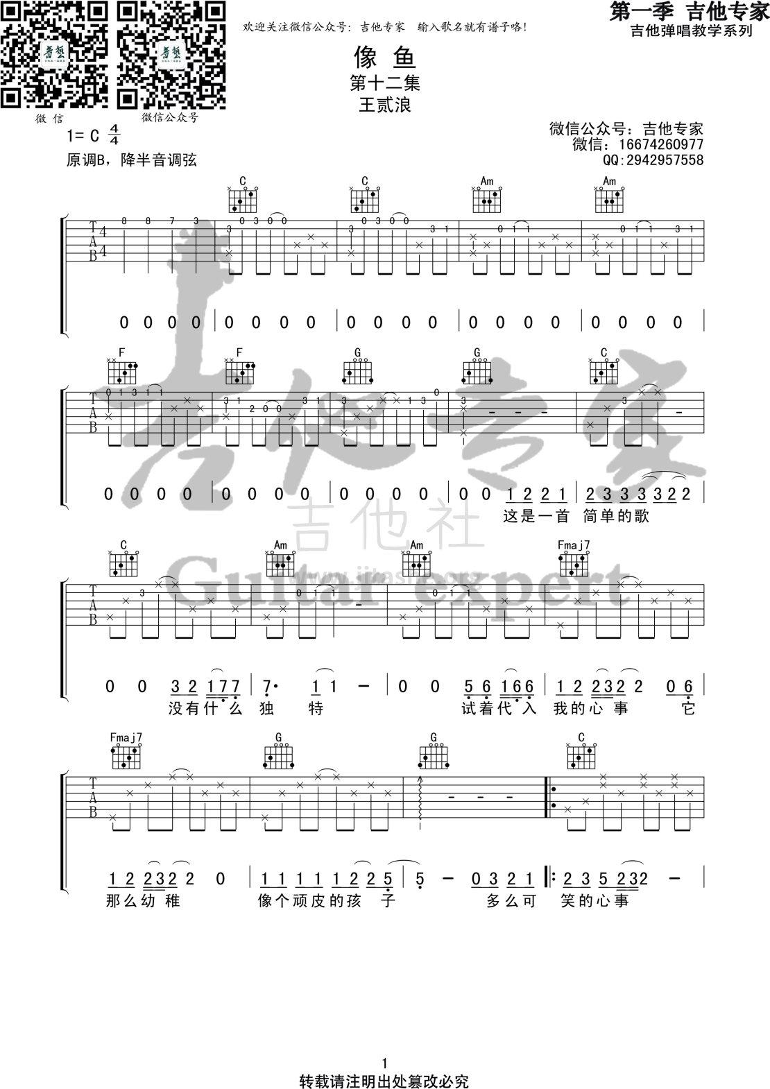 像鱼(音艺吉他专家弹唱教学:第一季第12集)吉他谱(图片谱,弹唱,伴奏,教程)_王贰浪_像鱼1 第一季第十二集.jpg