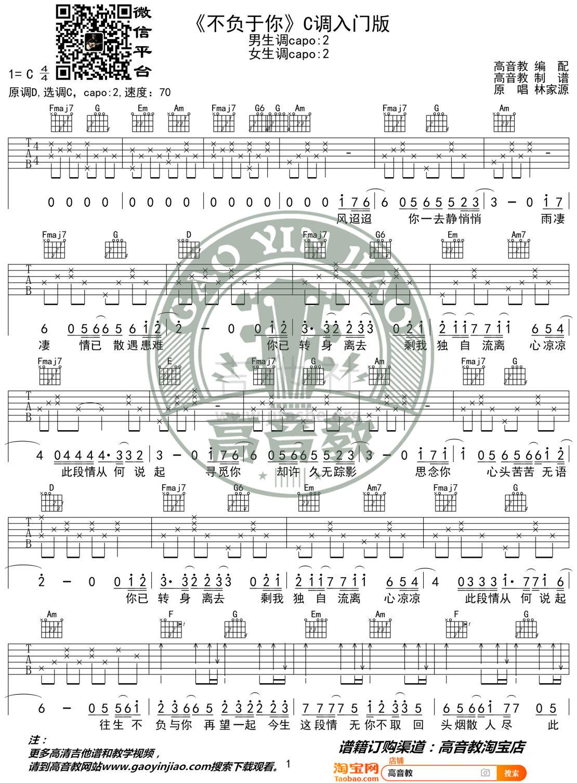 不负于你(高音教编配 猴哥吉他)吉他谱(图片谱,弹唱,C调)_林家源_《不负于你》C调入门版01.jpg