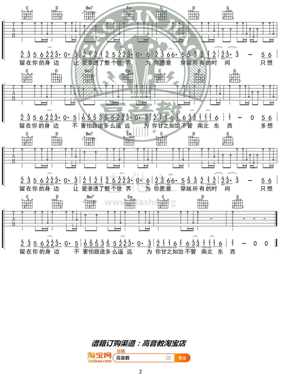雀跃(高音教编配 猴哥吉他教学)吉他谱(图片谱,弹唱,G调)_任然_《雀跃》G调入门版02.jpg