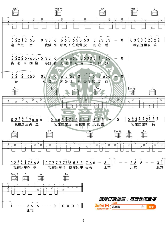 北京北京(高音教编配 猴哥吉他教学)吉他谱(图片谱,弹唱,C调)_汪峰_《北京北京》C调入门版02.jpg