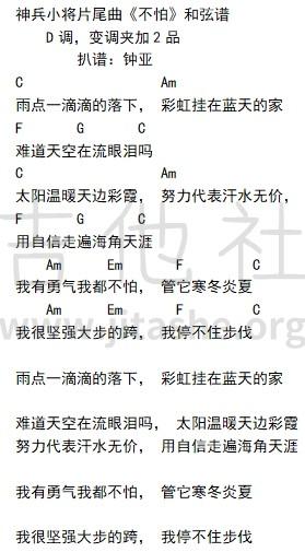 神兵小将片尾曲 - 不怕吉他谱(图片谱,指弹,南宫问雅)_动漫游戏(ACG)_《不怕》和弦谱.jpg
