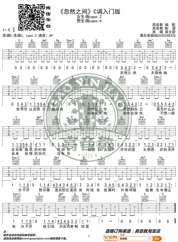 忽然之间 (高音教编配 猴哥吉他)吉他谱(图片谱,C调,弹唱)_莫文蔚(Karen Mok)_《忽然之间》C调入门版.jpg