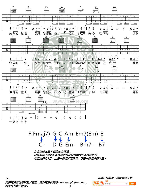 父亲(高音教编配 猴哥吉他教学)吉他谱(图片谱,弹唱,C调)_筷子兄弟(肖央;王太利)_《父亲》C调精华版02.jpg