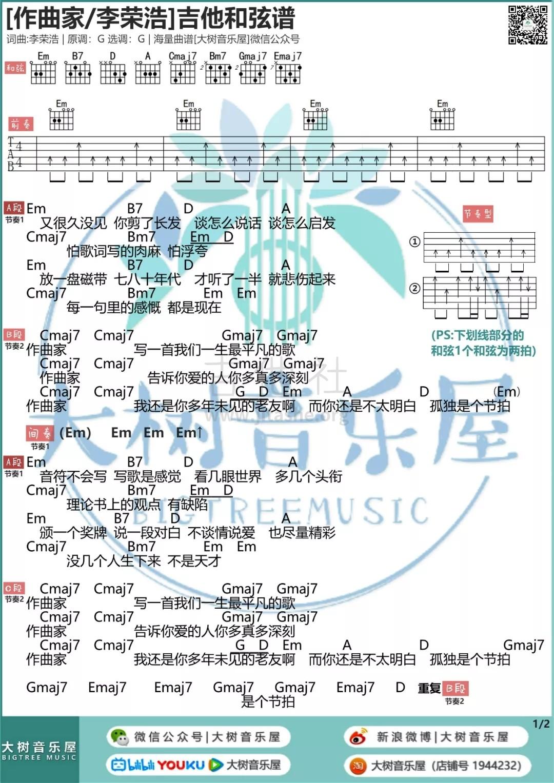 《作曲家》李荣浩-吉他谱 - 大树音乐屋吉他谱(图片谱,弹唱)_李荣浩_1.webp.jpg