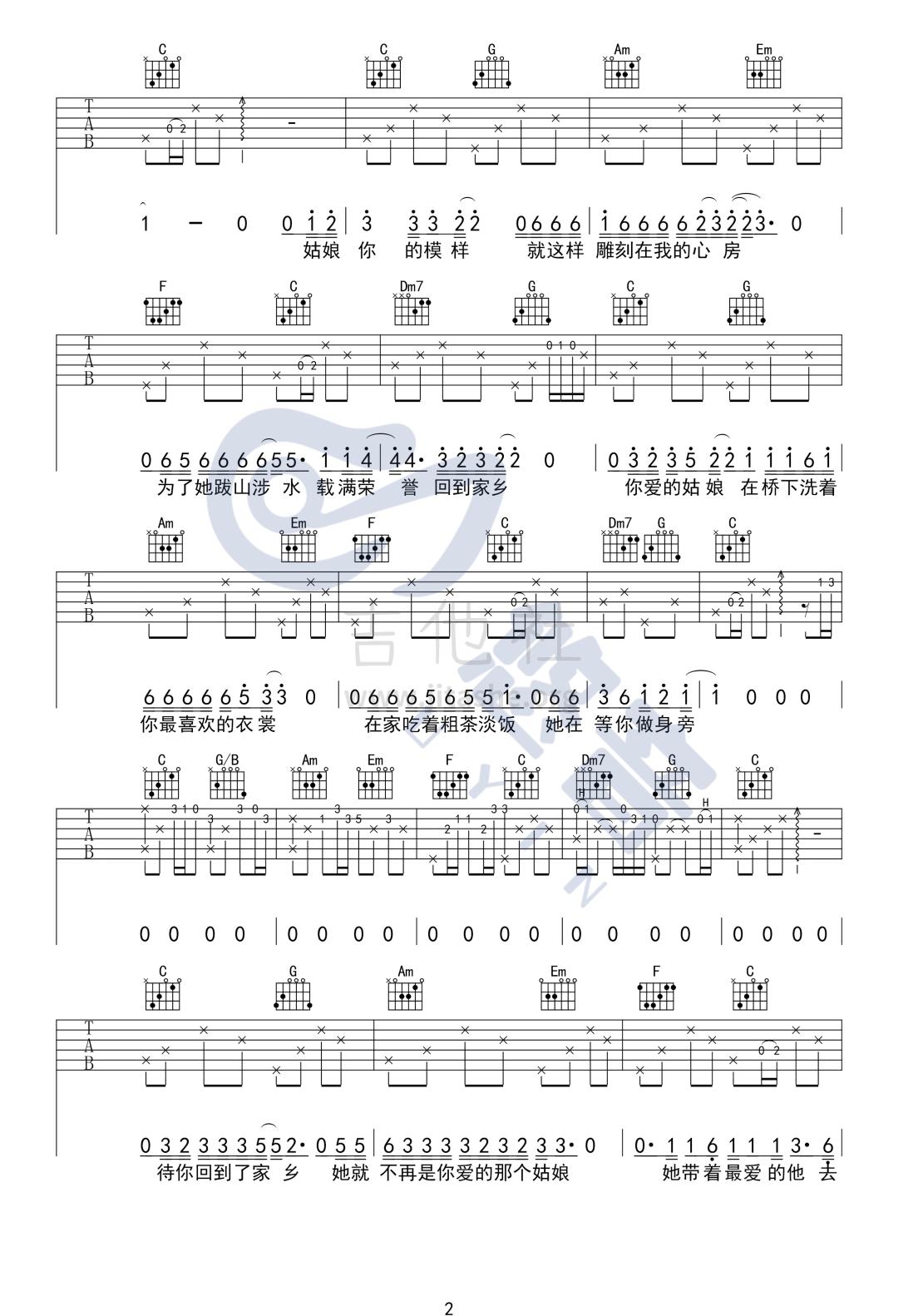 你的姑娘吉他谱(图片谱,弹唱)_隔壁老樊(樊凯杰)_你的姑娘_UYIN_2.png