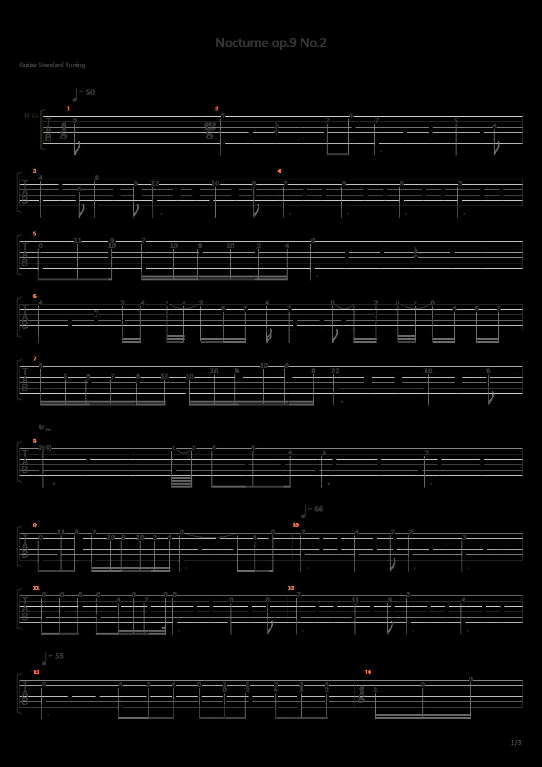 肖邦(Chopin)Nocturne Op 9 No 2吉他谱