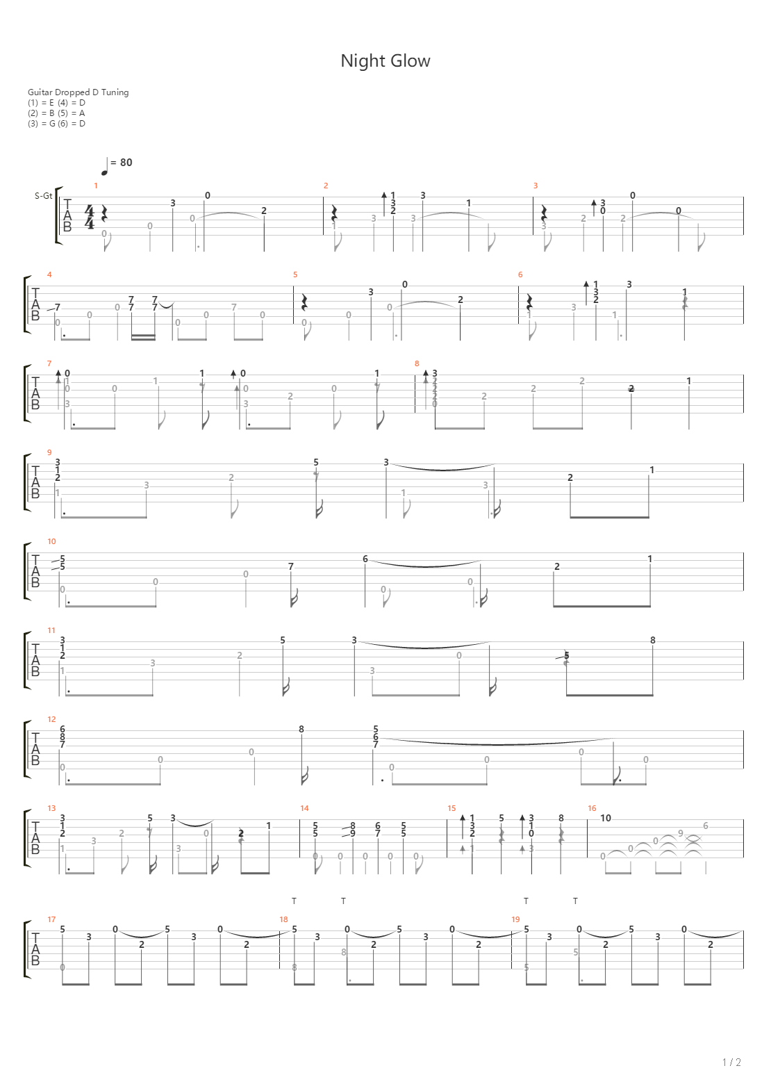 Nightglow(崩坏3「最后一课」印象曲)吉他谱