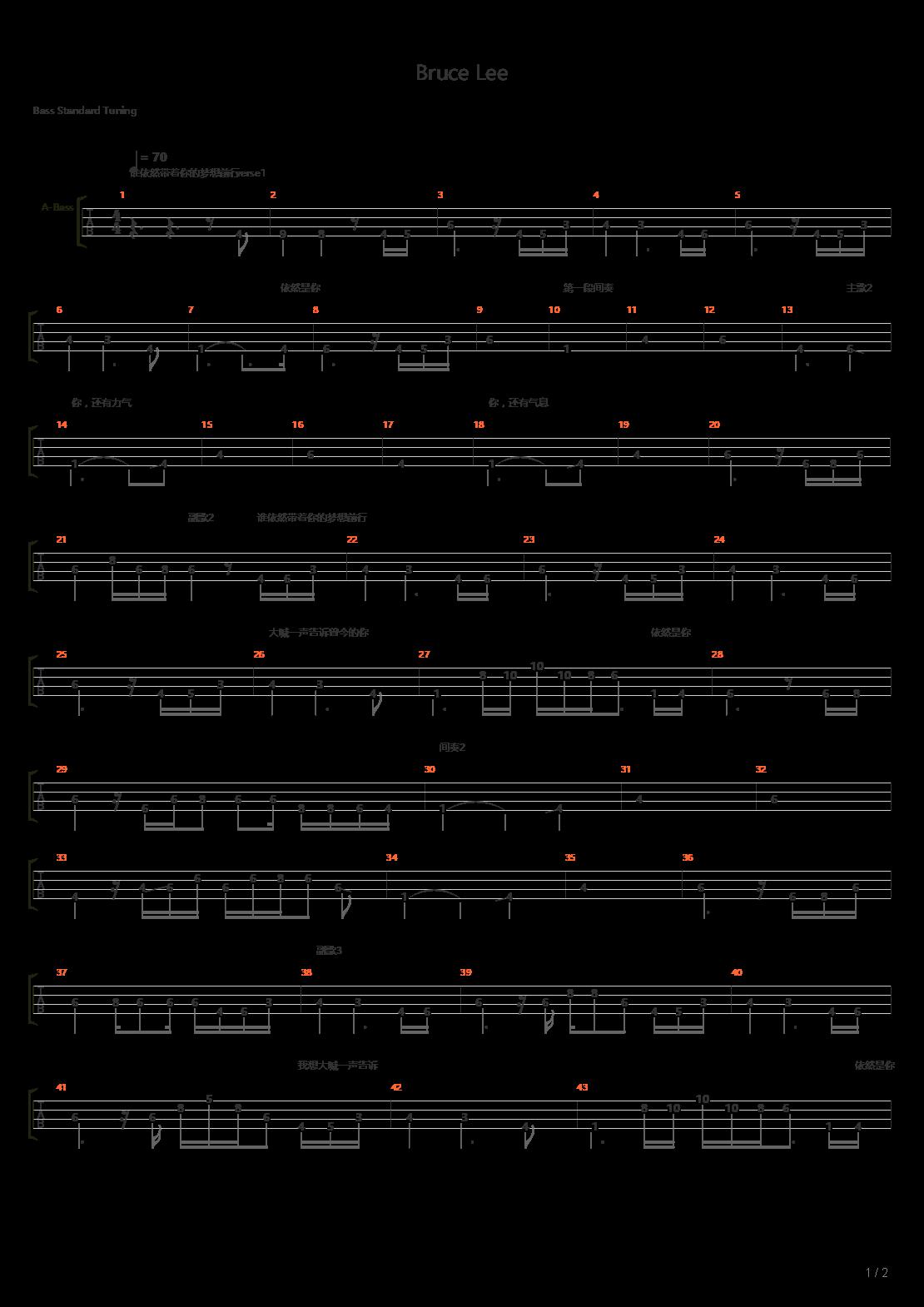 Bruce Lee吉他谱