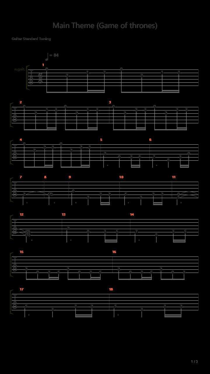Main theme (Game of thrones) Guitar Trio吉他谱