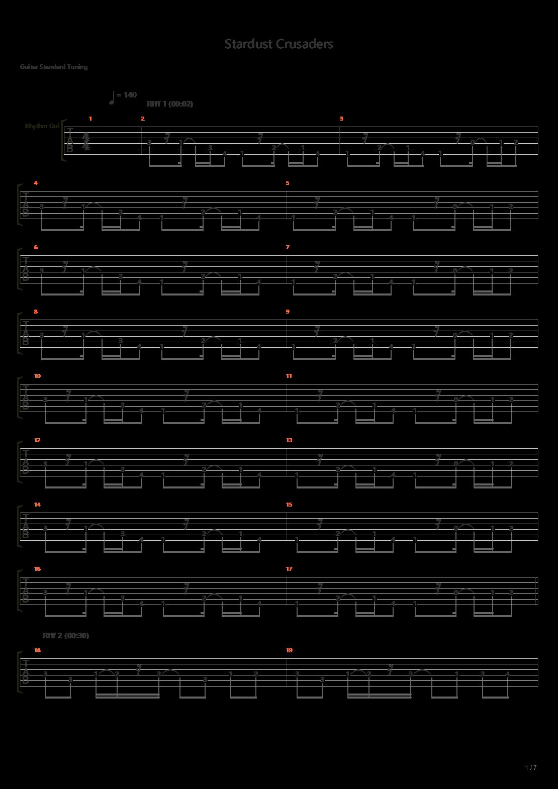 JOJO 白金之星处刑曲  (星尘斗士) 空调承太郎 スターダストクルセイダース吉他谱