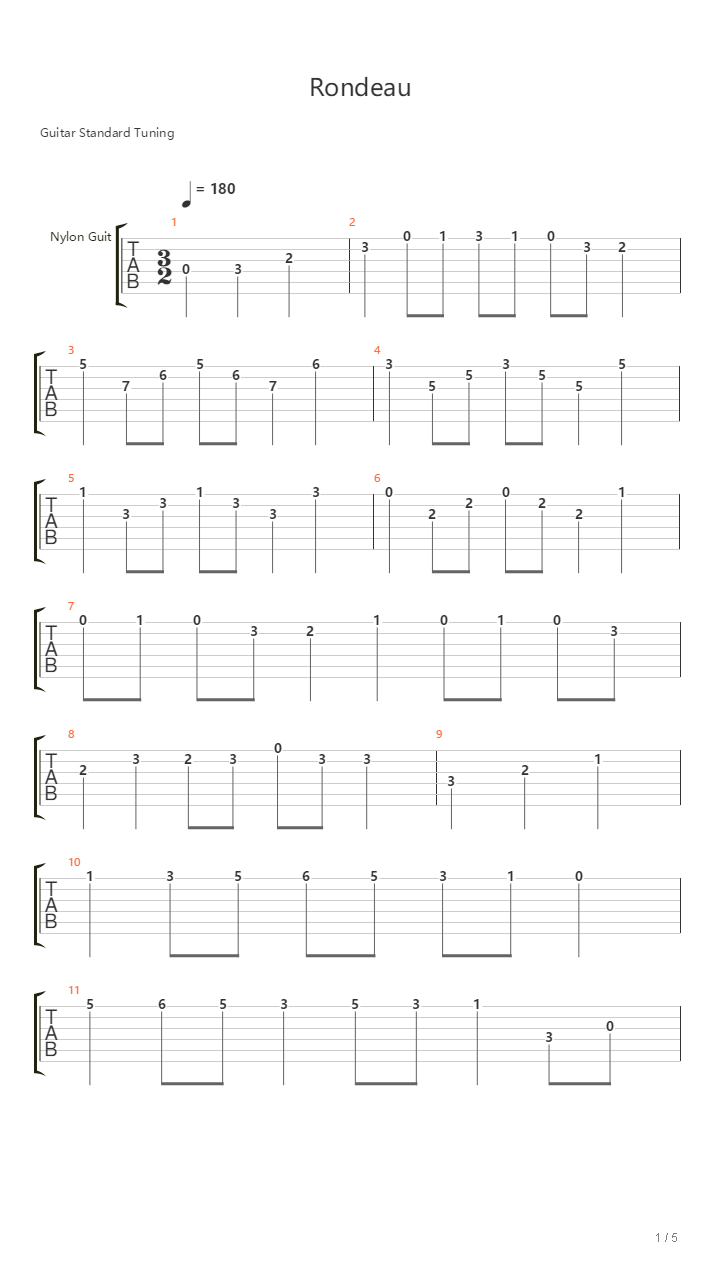 Rondeau 四重奏吉他谱