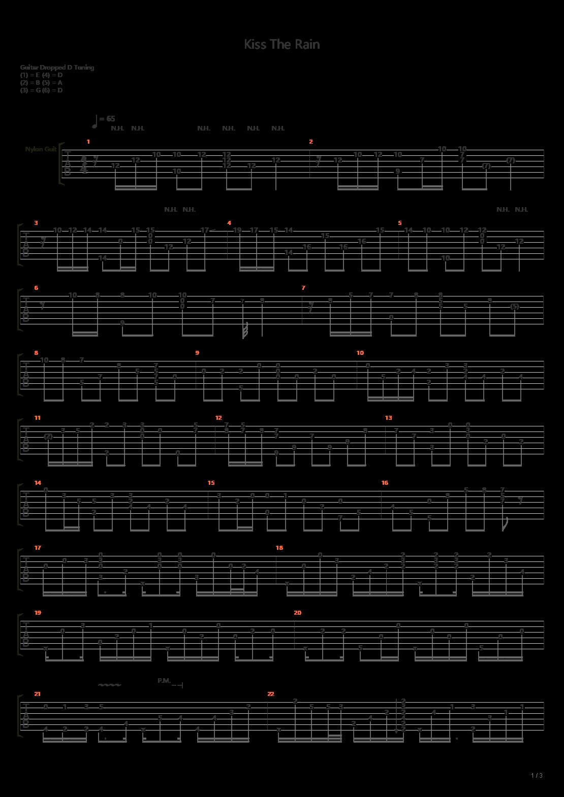 Kiss The Rain(超好听完美版!PDF + GTP  演奏视频)吉他谱