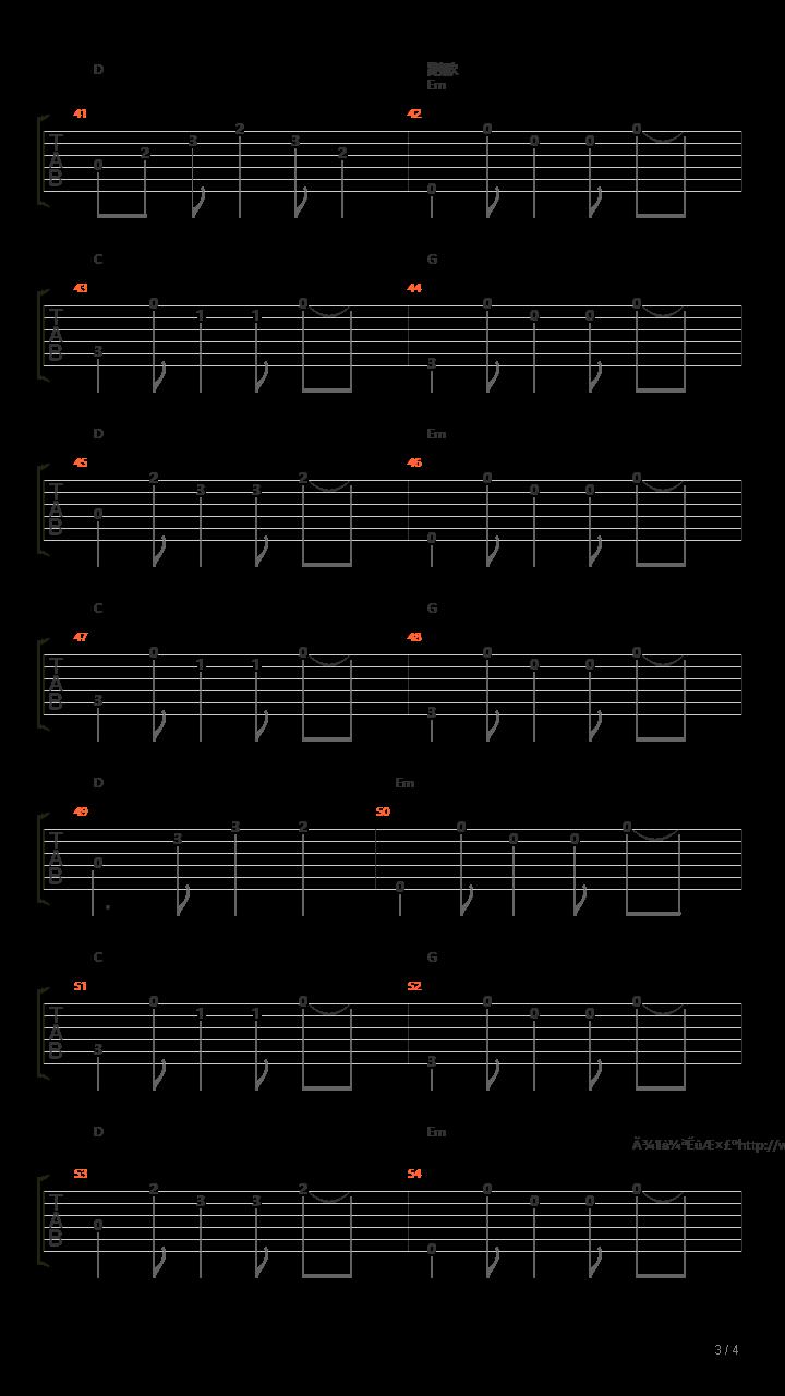 静止(原版贝斯)吉他谱