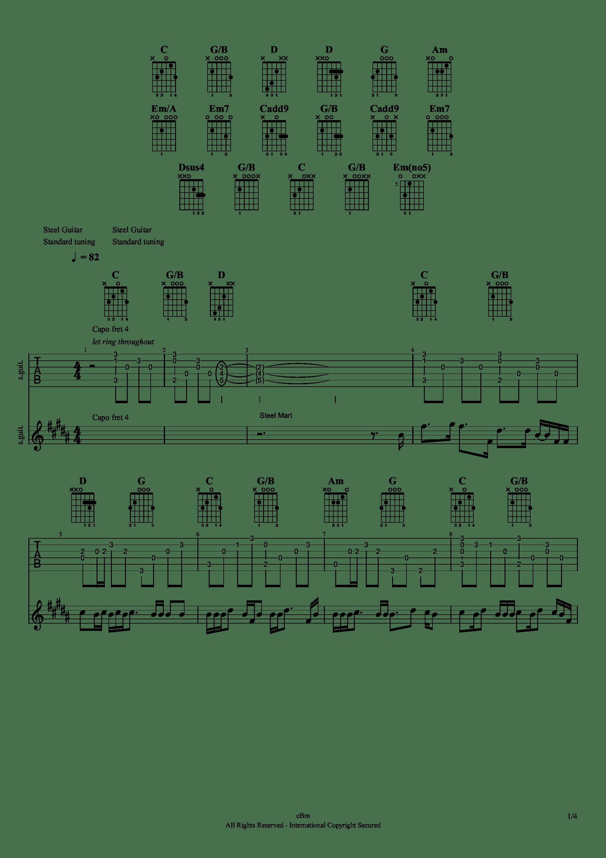 雨き声残響吉他谱1