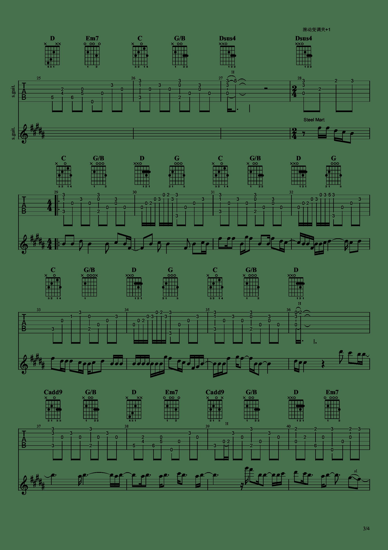 雨き声残響吉他谱3
