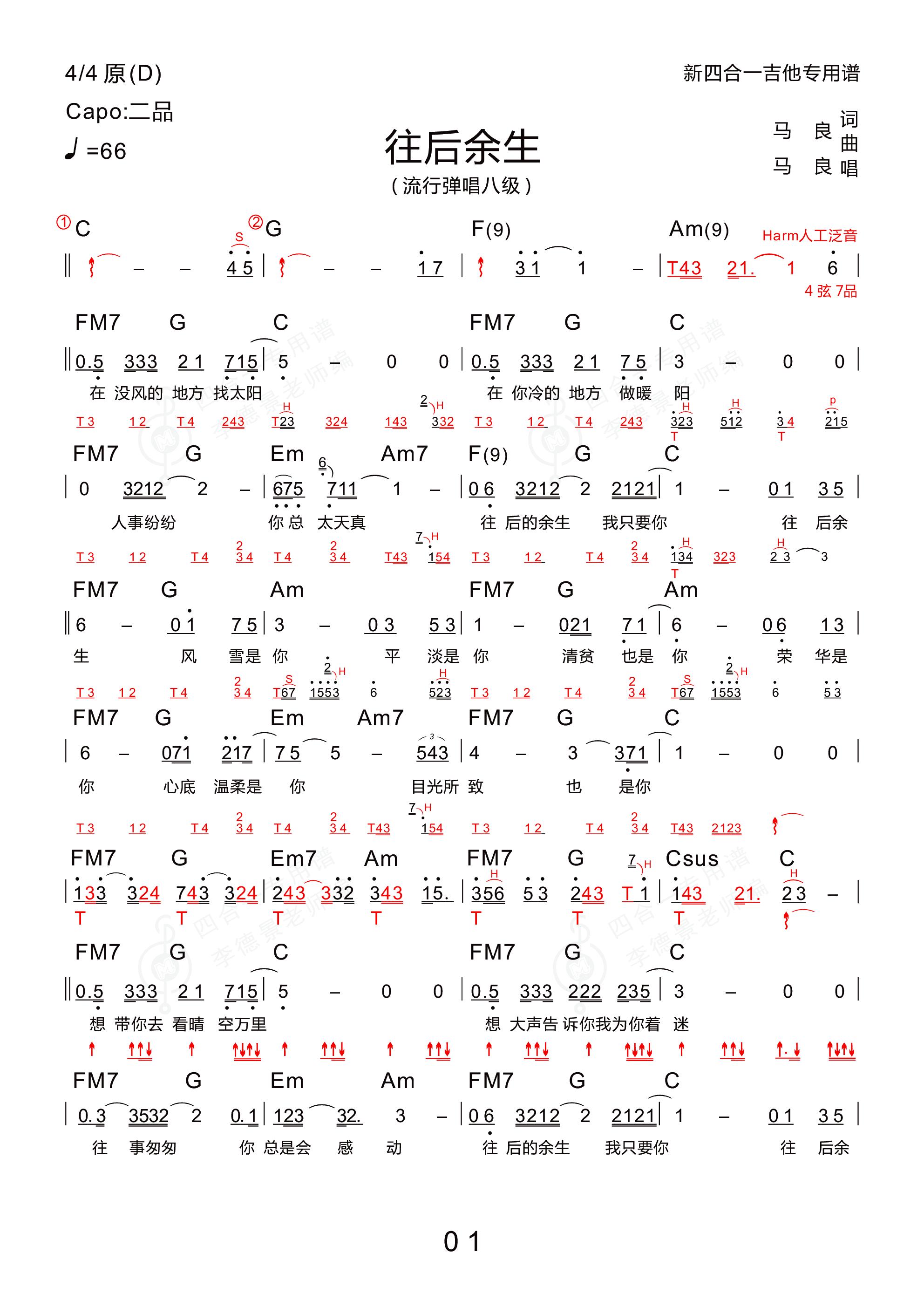 往后余生(木棉道琴行  新四合一吉他谱)吉他谱1