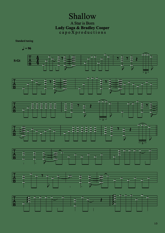 Shallow(Ladygaga电影A Star Is Born)吉他谱1