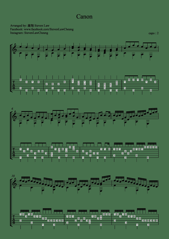 卡农电子琴教程_Canon in D(卡农)吉他谱(PDF谱,指弹,独奏,简单版)_罗翔(Steven law)