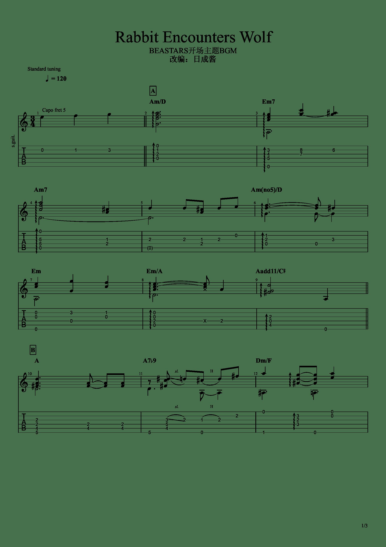 Rabbit Encounters Wolf(动物狂想曲BGM)吉他谱1
