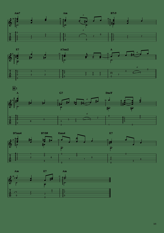 Rabbit Encounters Wolf(动物狂想曲BGM)吉他谱3