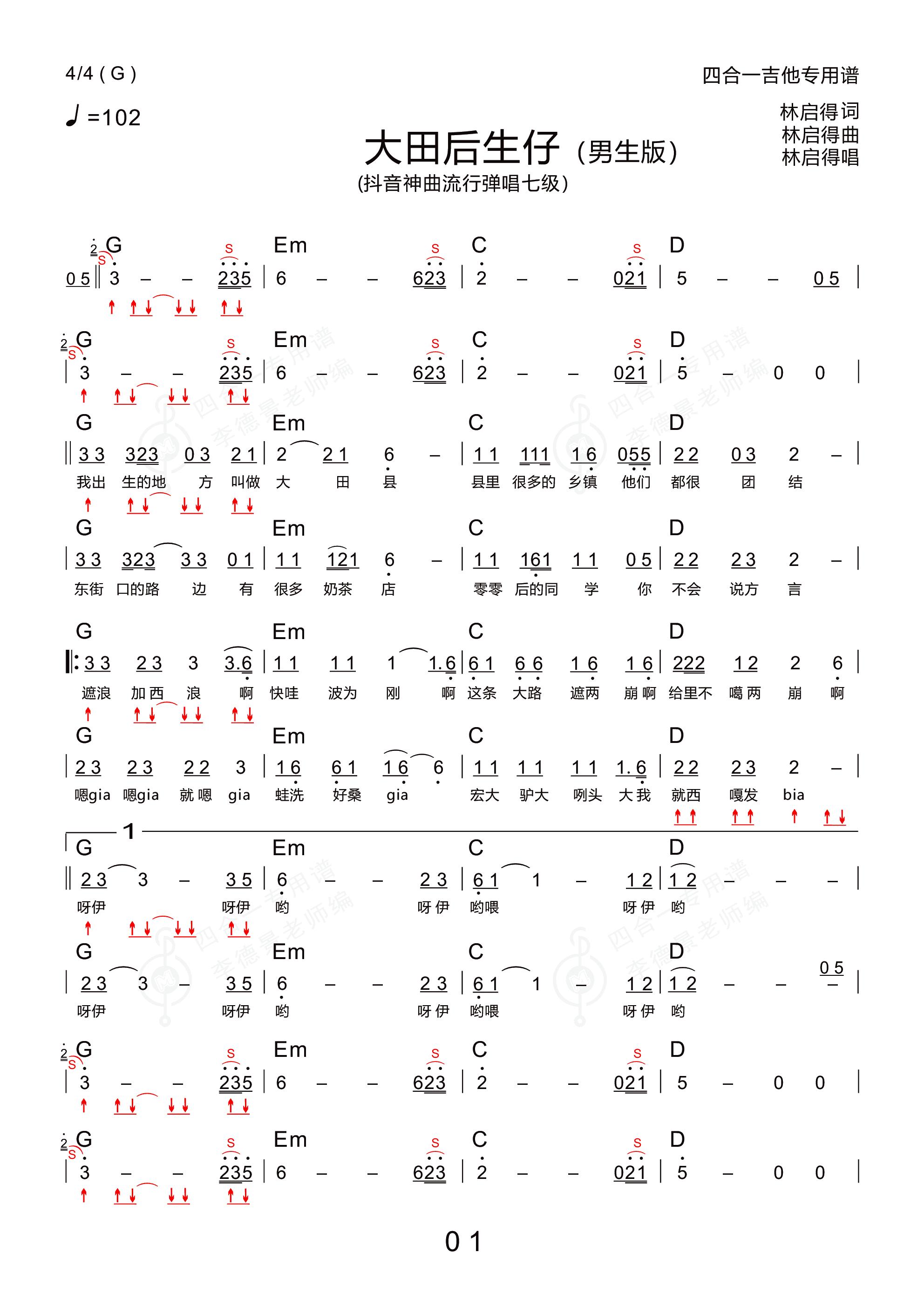 大田后生仔(男调 新四合一吉他专用谱)吉他谱1