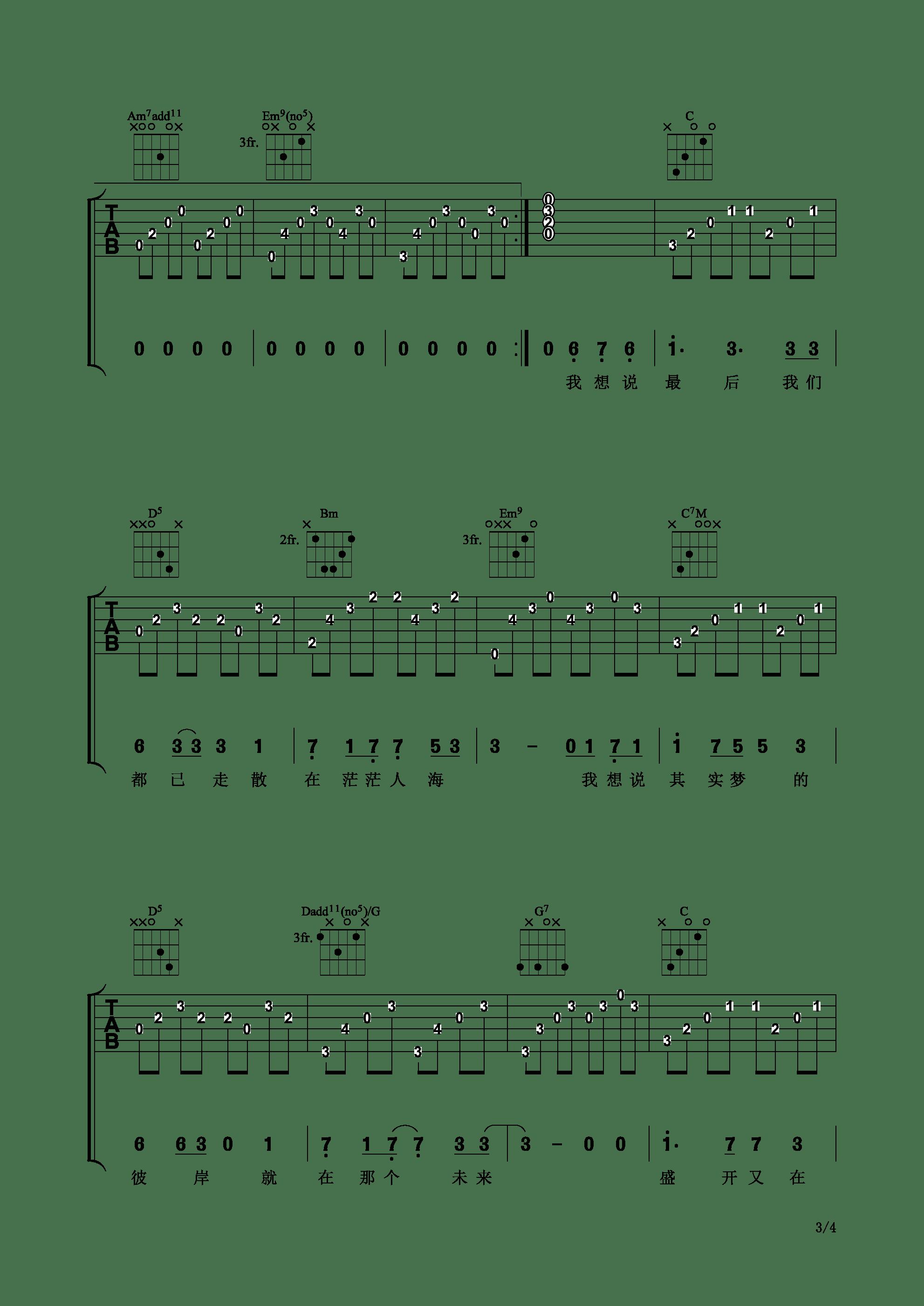 【原创作品】写给机器一班的毕业歌 - 星乐吉他谱3