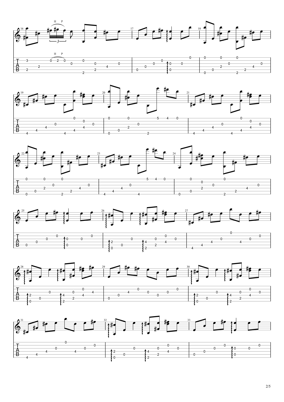 流行的云吉他谱2