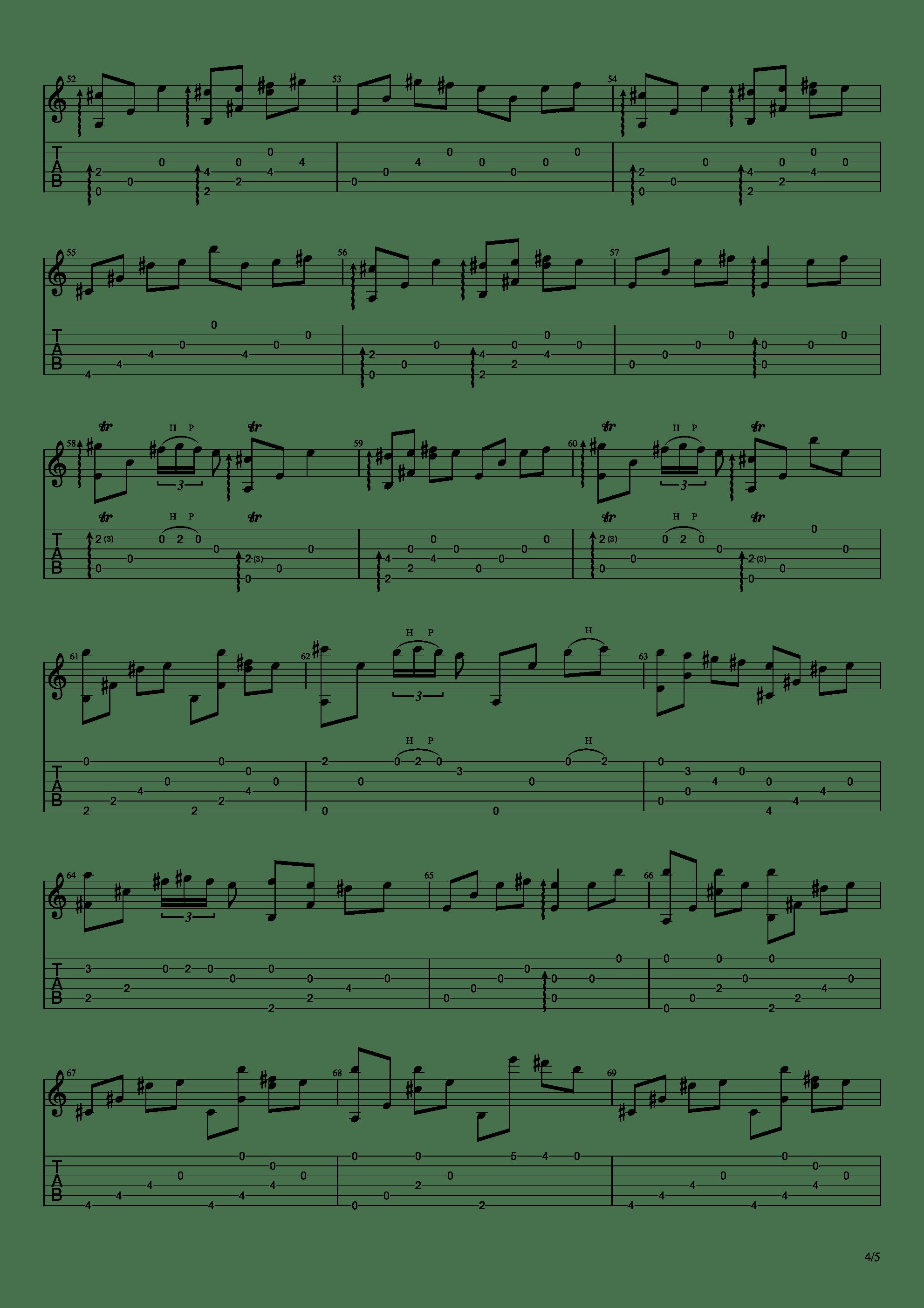 流行的云吉他谱4