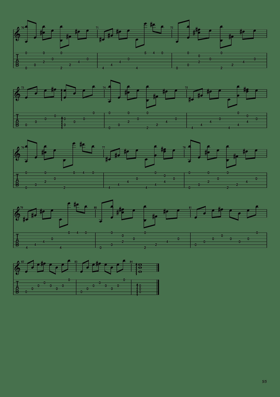 流行的云吉他谱5