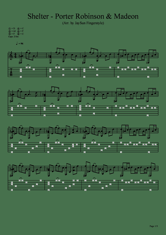 Shelter吉他譜1