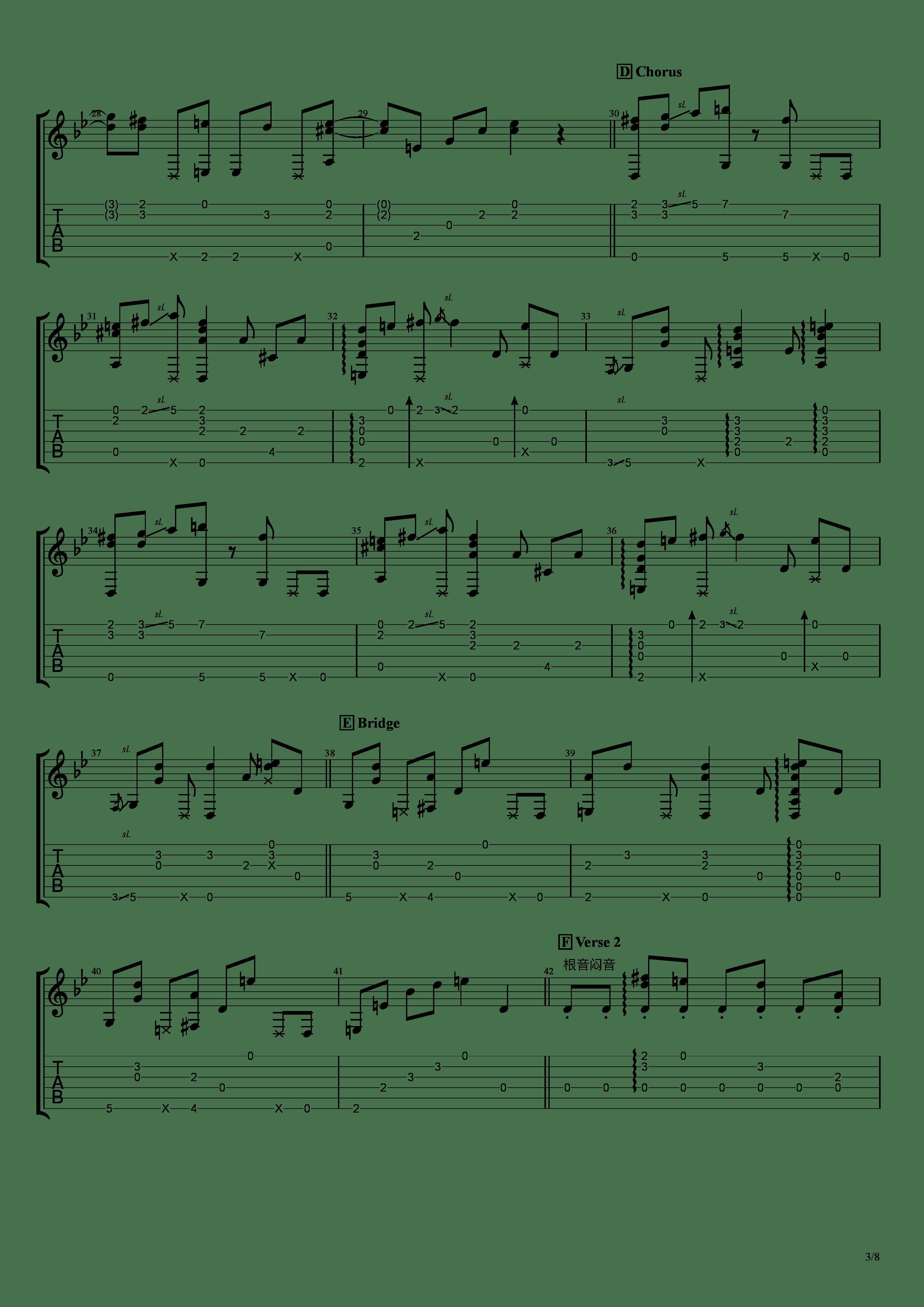 穏やかな日吉他谱3